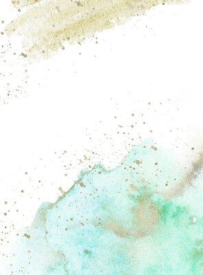 Väggdekor Gold, blue and turquoise watercolor texture design. Brush stroke frame / border. Shimmering modern art. Illustration.