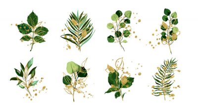 Väggdekor Gold green tropical leaves wedding bouquet with golden splatters isolated on white background. Floral foliage vector illustration arrangement in watercolor style. Botanical art design