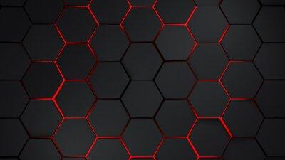 Väggdekor Grå och röd hexagons modern bakgrunds illustration