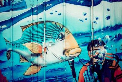 Väggdekor Graffiti akvarium plongeur