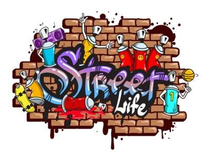 Väggdekor Graffiti ordtecken komposition