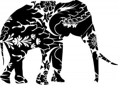 Väggdekor grafisk elefant
