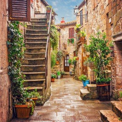 Väggdekor Gränd i gamla stan Pitigliano Toscana
