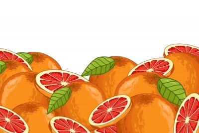 Väggdekor Grapefrukt Isolerad på vit bakgrund. Grapefrukt sammansättning, växter och blad. Organisk mat. Grapefrukt raster.