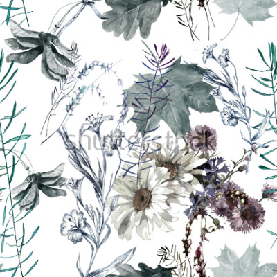Väggdekor grass flowers and leaves watercolor seamless pattern for fabrics, paper, wallpaper