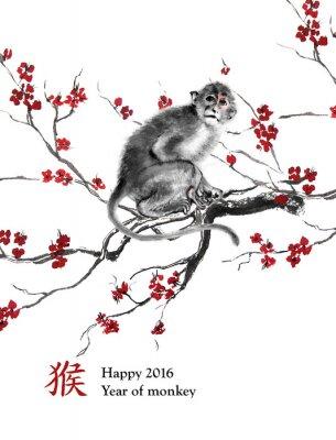 Väggdekor Gratulationskort år apa. En apa sitter på en gren av körsbär blommar, orientalisk bläckmålning. Med kinesiska hieroglyf