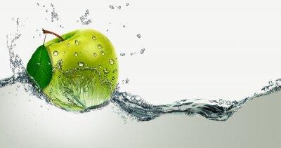 Väggdekor Green Apple bland vattenstänk.