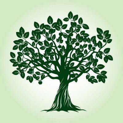 Väggdekor Green Apple Tree. Vektor illustrationen.