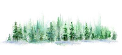 Väggdekor Green landscape of foggy forest, winter hill. Wild nature, frozen, misty, taiga. watercolor background