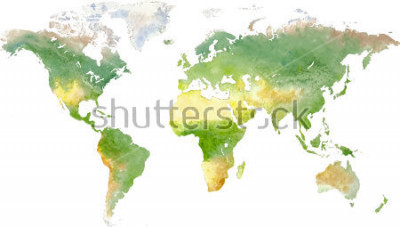 Väggdekor Green vector world map in watercolor style