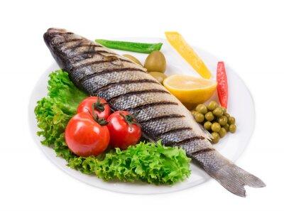 Väggdekor Grillad fisk med grönsaker.