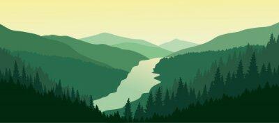 Väggdekor Grön bergslandskap med floden i dalen.