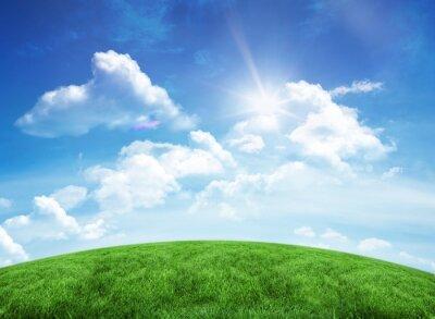 Väggdekor Grön kulle under blå himmel