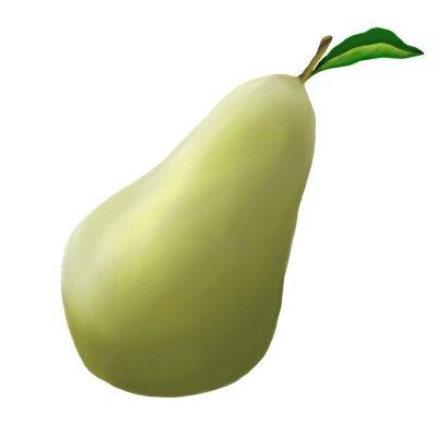 Väggdekor Grön pear på en vit bakgrund