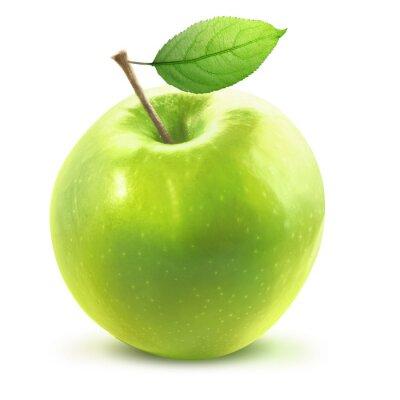 Väggdekor Grönt äpple och leafe isolerade med urklippsbana