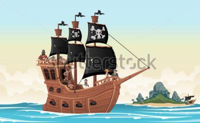 Väggdekor Group of cartoon pirates on a ship at the sea