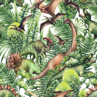 Väggdekor Group of realistic watercolor dinosaurs surrounded by lush prehistoric plants. Animals of Jurassic period. Hand painted seamless pattern