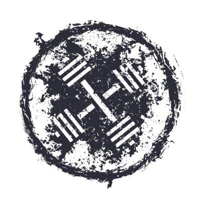 Väggdekor grunge emblem med korsade skivstång vektorillustration, eps10