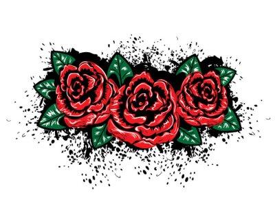 Väggdekor Grunge Roses med stänk