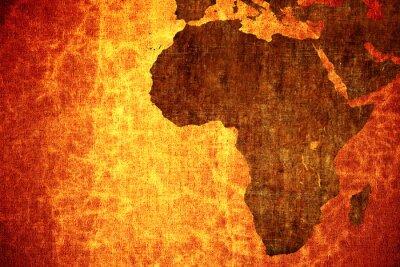 Väggdekor Grunge vintage repad Afrika karta bakgrund.
