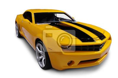 Väggdekor Gul American Sports Car