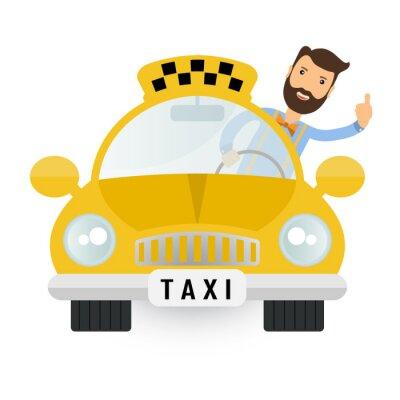 Väggdekor gul taxi bil - vektor ikon