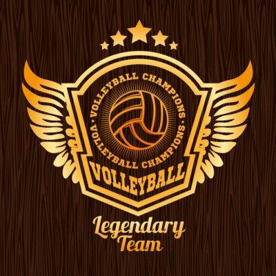 Väggdekor Guld volleyboll emblem på trä konsistens.