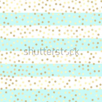 Väggdekor Guldglittrande droppar på turkos och vita ränder. Seamless vektor mönster på randig mynta och guld bakgrund. Glänsande semester bakgrund. Gyllene glittermönster. Guldmetallfolie bakgrund.