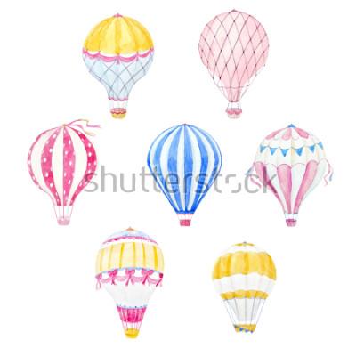 Väggdekor Gullig ballong akvarell uppsättning. aerostatutskrift