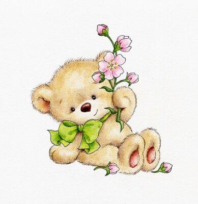 Väggdekor Gullig nallebjörn med blommor
