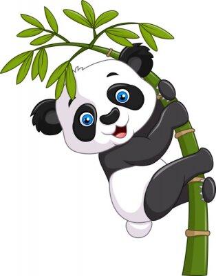 Väggdekor Gullig rolig pandaunge hänger på en bambuträd