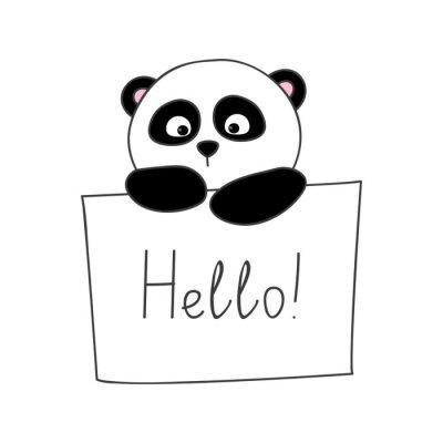 Väggdekor Gullig tecknad panda isolerad på vitt