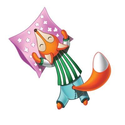 Väggdekor Gullig tecknad räv i pyjamas sover
