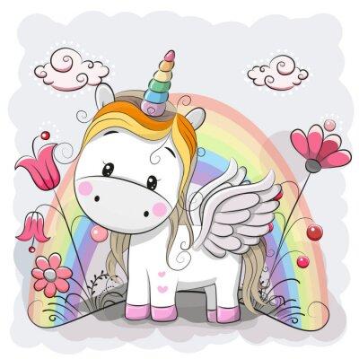 Väggdekor Gullig tecknad Unicorn på ängen