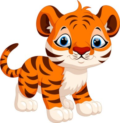 Väggdekor Gullig tiger tecknad