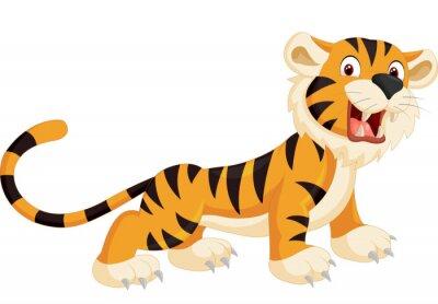 Väggdekor Gullig tiger tecknad rytande