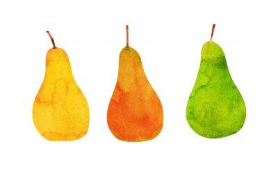 Väggdekor gult, orange, gröna päron isolerade