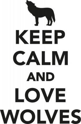 Väggdekor Håll lugn och kärlek vargar