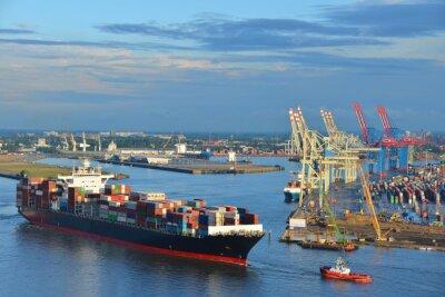 Väggdekor Hamburgs hamn, containerfartyg, container, bogserbåt, terminaler till havs, Elbe, Hamburg