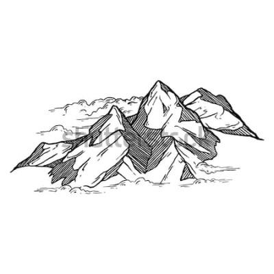 Väggdekor hand dras av bergen vektor iluustration