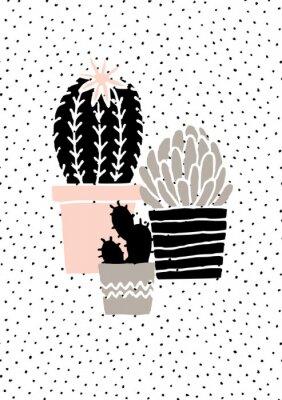 Väggdekor Hand Drawn Cactus affisch