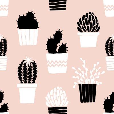 Väggdekor Hand Drawn Cactus Mönster