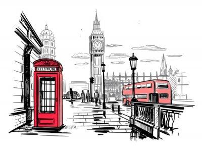 Väggdekor hand drawn landscape of London city