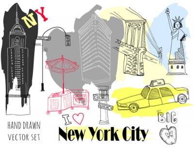 Väggdekor Hand drawn New York elements. Colored graphic vector set