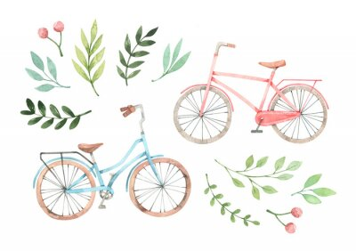 Väggdekor Hand drawn watercolor illustration - Romantic bike with floral elements. City bicycle. Amsterdam. Perfect for invitations, greeting cards, posters, prints