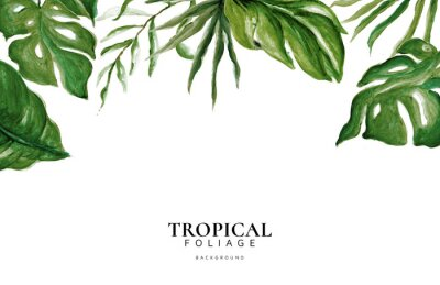Väggdekor Hand Drawn Watercolor Tropical Leaves, Tropical Exotic Leaves, Background, Urban Jungle, House Plant