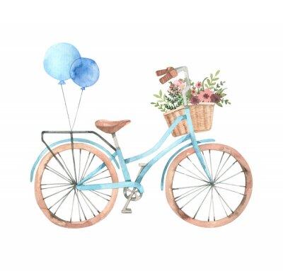 Väggdekor Handgjord akvarell illustration - Romantisk cykel med blomkorg i pastellfärger. City cykel. Amsterdam. Perfekt för inbjudningar, gratulationskort, affischer, utskrifter