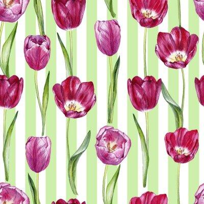 Väggdekor handgjord akvarell sömlös mönster med tulpaner