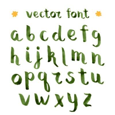 Väggdekor Handgjorda bläck grön alfabetet.