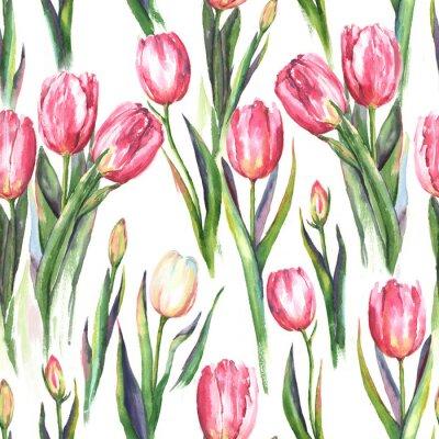 Väggdekor Handgjorda vattenfärg sömlösa mönster med rosa och vita tulpanblommor. Upprepad fjädertryck för textil, tapeter. Anbud och vacker bakgrund